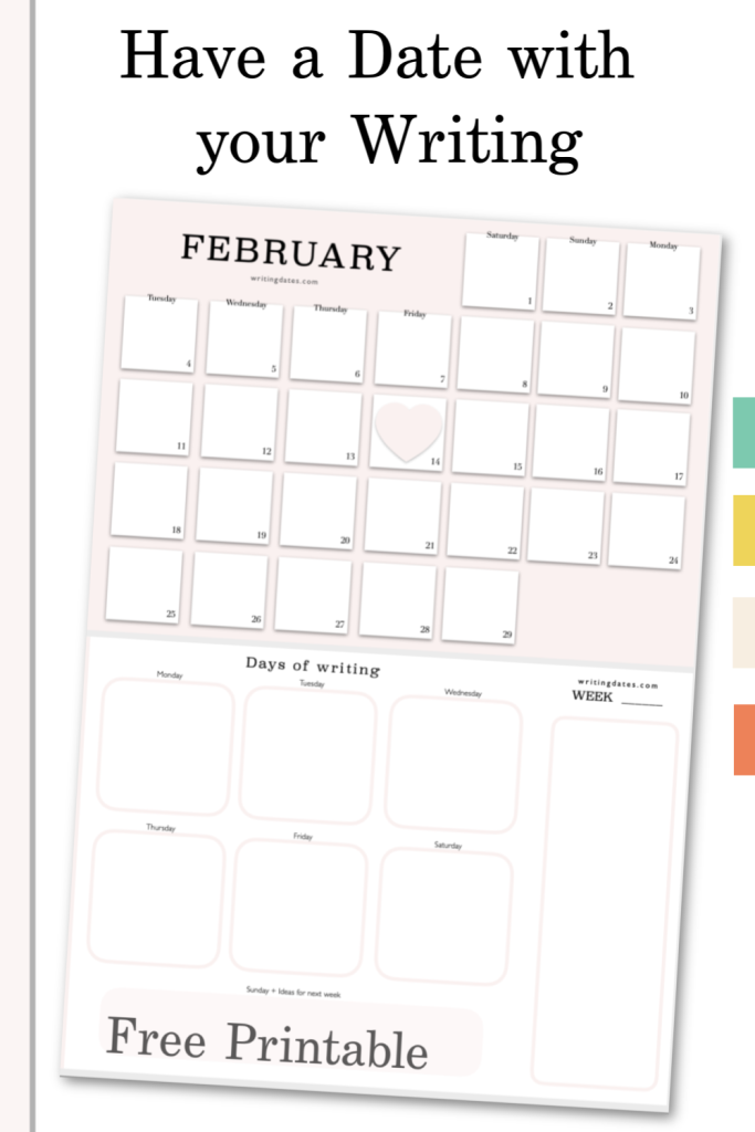 Have a date with your inner writer for Valentines in plot it into this free printable for February
