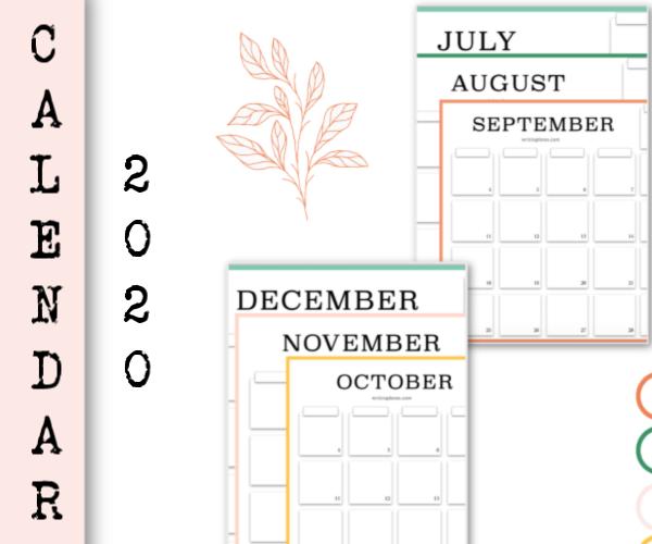 Free printable. Monthly calendar 2020 july august september october november december